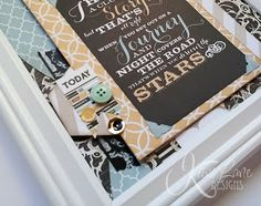 Framed paper art with Teresa Collins Memorabilia collection and Kiwi Lane templates