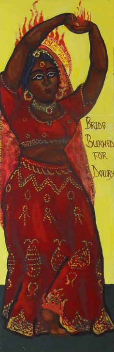"""Bride Burned for Dowry Acrylic on innerglow panel with touches of gold leaf 6"""" x 18"""" 2016"""