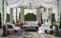 Modern Gazebo Design With Sofa White Color Look Luxury With Decoration Ideas How to design a gazebo in your garden? garden design http://seelayem.com