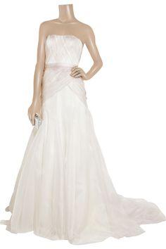 Pleated silk-gazar gown by Lela Rose  #blush #ivory