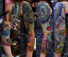 Alice in Wonderland sleeve in progress by grimmy3d