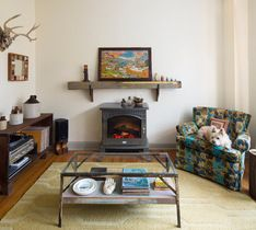 mantle over small electric stove-HOUZZ