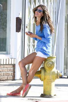 Alessandra Ambrosio, white shorts @ venetia