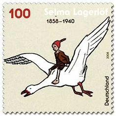 A Maravilhosa Viagem de Nils Holgersson através da Suécia – Wikipédia, a enciclopédia livre.  Would be a great stamp!