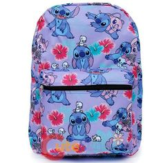 Stitch and Angel Backpack with Hawaiian Flowers - Disney Lilo and Stitch Purple Allover Print Girls Large School Backpack Lelo And Stitch, Lilo Y Stitch, Cute Stitch, Disney Stitch, Cute Backpacks, School Backpacks, Black Backpack School, Stitch Backpack, Stitch And Angel