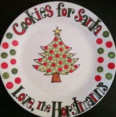 Cookies for Santa sharpie plate | Cookies for Santa Plate featuring Christmas Tree in by thewildbaby, $ ...