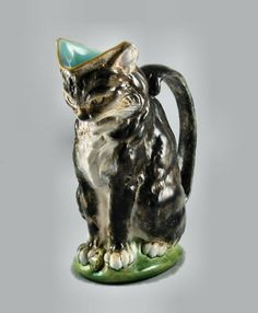 Minton Cat Pitcher, modelled by Paul Comolera, circa 1874, Extremely Rare