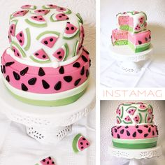 My watermelon inspired fondant cake.
