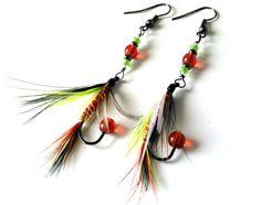 Fishing Fly Earrings  Lime Green Red Black White by MajaEarrings, $14.00