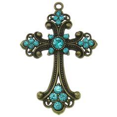 Zinklegierung Kreuz Anhänger, Schwertlilien Kreuz, antike Bronzefarbe plattiert, mit Strass, keine, frei von Nickel, Blei & Kadmium, 50x74x5...
