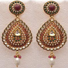 Kundan Pearls Earrings Indian Native Jewelry American Fashion Style Set