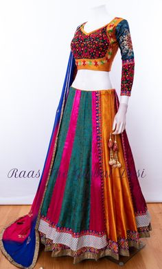 Chaniya Choli for navratri - latest designer collection - garba chaniya choli( gamthi ,katchi ,patch work ,silk ,cotton )navratri Indian Bridal Fashion, Indian Fashion Dresses, Indian Wedding Outfits, Indian Designer Outfits, Indian Outfits, Indian Clothes, Designer Dresses, Wedding Dress, Half Saree Designs
