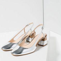 c7bc9b3525a LAMINATED BLOCK HEEL SHOES from Zara Silver Block Heel Shoes