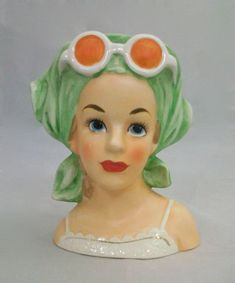 Relpo - Lady Head Vase With Green Scarf and Sunglasses