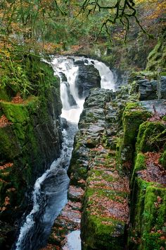 Dunkeld Hermitage Waterfall in Scotland. This is located just north of Perth in the Highlands.