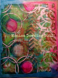 Gelli plate print plus some water soluble oil pastels