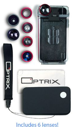 Optrix iPhonetography Ultimate PhotoProX rugged waterproof iphone 5S photography case with 6 lenses.