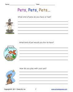 School Express free printable writing worksheets.