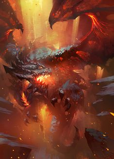 Dragon by Zudartslee red fire breathing lava monster beast creature animal | Create your own roleplaying game material w/ RPG Bard: www.rpgbard.com | Writing inspiration for Dungeons and Dragons DND D&D Pathfinder PFRPG Warhammer 40k Star Wars Shadowrun Call of Cthulhu Lord of the Rings LoTR + d20 fantasy science fiction scifi horror design | Not Trusty Sword art: click artwork for source