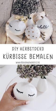 DIY Herbstdeko selber machen – Kürbisse bemalen. Schöne und einfache Deko Ideen für den Herbst. Kreative Tischdeko mit Kürbisse. Saisonale Dekoration selber machen.