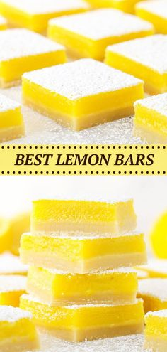 This Easy Lemon Bars Recipe has the perfect combination of tart and sweet. Made with a vanilla crust and a smooth lemon filling, these are easily the best lemon bars ever! Lemon Dessert Recipes, Bar Recipes, Lemon Recipes, Baking Recipes, Make Ahead Desserts, Fun Desserts, Delicious Desserts, Best Lemon Bars, Lemon Filling