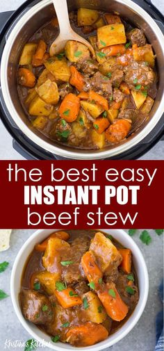 The Best Instant Pot Beef Stew! With tender pieces of beef, potatoes and carrots in a rich and flavorful broth. This pressure cooker beef stew is a quick and easy twist on the classic recipe. One of our favorite healthy homemade family dinners! Instant Pot Beef Stew Recipe, Best Instant Pot Recipe, Instant Pot Dinner Recipes, Easy Dinner Recipes, Recipe Stew, Best Beef Stew Recipe, Summer Recipes, Dinner Ideas, Pressure Cooker Beef Stew