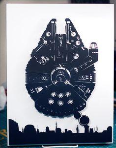 Millennium Falcon Mos Eisley - Star Wars silhouette handcut paper craft