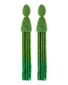 Long Beaded Tassel Clip-On Earrings, Kelly Green by Oscar de la Renta at Neiman Marcus.