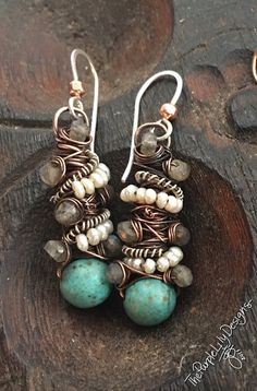 Pendientes de Tangled cobre plata magnesita turquesa