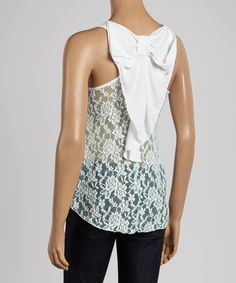 Take a look at the Teal Floral Lace Bow-Back Tank on #zulily today!