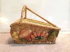 1970s Hand Made Wicker Woven Straw Fruit Bread Basket with Handle Philippines by yourmamashouse on Etsy