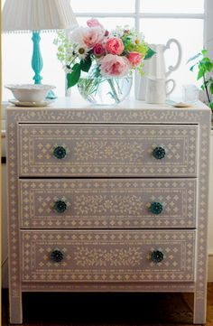 Chest of drawers renovation- hand painted wit5h Kim Myles stencil. BR