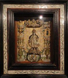 Autor: Taller peruano. Título: Inmaculada Concepción, (Tota Pulchra) Época: Siglo XVIII. Piedra de huamanga policromada. Museo Arte COlonial, BOgota