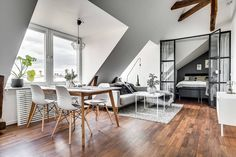 New listing at Ynglingagatan 21 - Stylish attic photographed by me for via Small Apartment Design, Attic Apartment, Apartment Interior, Apartment Living, Small Apartments, Gravity Home, Interior Architecture, Interior Design, Loft Room