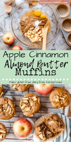 One bowl and 7 squeaky clean ingredients is all that stands between you and these easy peasy Apple Cinnamon Almond Butter Muffins. Sweetened by nature and serving up some serious healthy fat and protein. Naturally Paleo, gluten free and dairy-free! Paleo Dessert, Paleo Snack, Paleo Food, Paleo Diet, Paleo Meals, Paleo Pasta, Paleo Baking, Dairy Free Muffins, Healthy Muffins