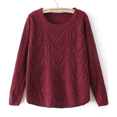 Wine Red Round Neck Long Sleeve Cable Knit Sweater   pariscoming