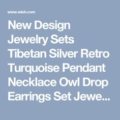 New Design Jewelry Sets Tibetan Silver Retro Turquoise Pendant Necklace Owl Drop Earrings Set Jewellery for Women (Color: Green)