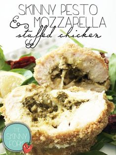 Skinny Pesto & Mozzarella Stuffed Chicken — Perfectly de{light}ful! Stuffed with melted cheese, pesto, and flavor! Well under 250 calories in a serving.