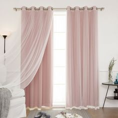 "Amazon.com: Best Home Fashion Mix & Match Tulle Sheer Lace & Blackout 4Piece Curtain Set - Antique Bronze Grommet Top - Dusty Pink - 52""W X 84""L - (Set of 4 Panels): Home & Kitchen"