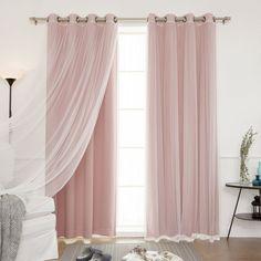 "Amazon.com: Best Home Fashion Mix & Match Tulle Sheer Lace & Blackout 4Piece Curtain Set - Antique Bronze Grommet Top - Dusty Pink - 52""W X 84""L - (Set of 4 Panels): Home & Kitchen"