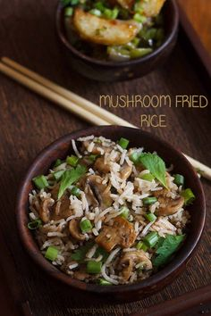 mushroom fried rice recipe with step by step photos - delicious indo chinese recipe of fried rice with mushrooms. easy to cook and too good to taste. this mushroom fried rice is one of those quick stir fried rice Tamarind Rice Recipes, Vegetarian Rice Recipes, Easy Rice Recipes, Vegan Recipes, Curd Rice Recipe, Veg Recipes Of India, Parmesan Roasted Cauliflower, Cabbage Rice, Vegans