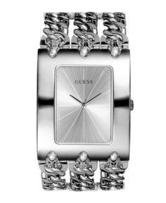 GUESS Watch, Women's Silver Tone Multichain Bracelet 40x48mm G85719L - Women's Watches - Jewelry & Watches - Macy's