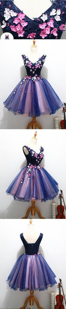 Short Homecoming Dress, Tulle Homecoming Dress, V-Neck Homecoming Dress, Applique Junior School Dress, Knee-Length Homecoming Dress, Backless Homecoming Dress, LB0411