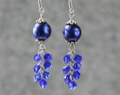 Pearl royal blue chandelier earrings Bridesmaid gifts Free US Shipping handmade Anni designs