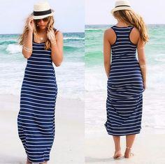 Striped Sleeveless Scoop Loose Long Beach Dress