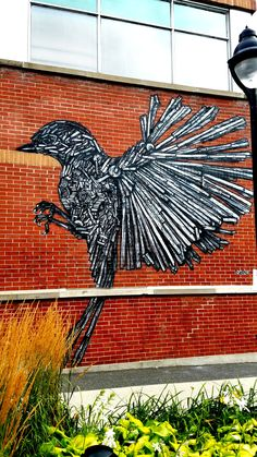 Montreal, Quebec - Street Art & Graffiti.  A lovely new mural from the the Israeli Artist dede.  This is from the Mont Royal neighborhood in Montreal which is filled with amazing street art.  Original Picture b R. Stowe