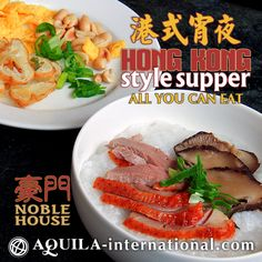 oble House is the place for late night supper (宵夜 xiāo yè) aficionados. A special old favourite menu, Hong Kong congee, introduced this season will feature a selection of our Executive Hong Kong Chef exquisite recipes. The special menu ranges from of a choice of congees, assorted appetizers, braised tofu, egg, beef, chicken, vegetables, noodles and many choices of desserts.  Every Friday to Sunday : 06.00 pm – 10.00 pm  For reservations, please call Noble House at (62-22) 203 9280 ext. 1601.