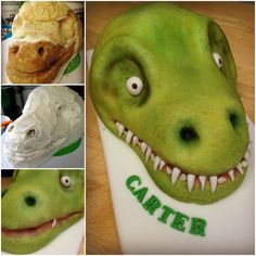 It's a good thing T-Rex has tiny arms, so he can't eat this awesome birthday cake whole! Make this T-Rex Birthday Cake for your dinosaur themed birthday party. T Rex Cake, Dino Cake, Dinosaur Cake, Dinosaur Birthday Party, Birthday Cake, Dinosaur Head, Fondant Cakes, Cupcake Cakes, Sculpted Cakes