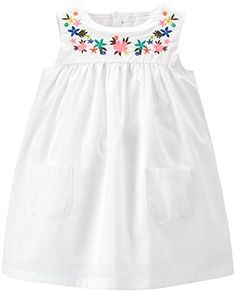 image of Carter's® Poplin Floral Embroidered Dress and Diaper Cover Set in White Baby Girl Dress Patterns, Little Girl Dresses, Girls Dresses, Toddler Dress, Baby Dress, Carters Baby Girl, Baby Girls, Baby Frocks Designs, Frocks For Girls