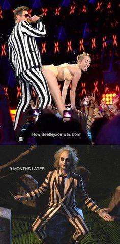 how beetlejuice was born... - (miley cyrus)(twerking)